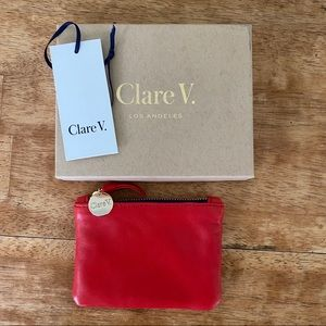 🆕 👛 Clare Vivier red leather coin clutch
